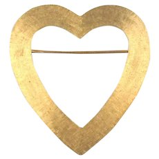 Slim 14K Brushed Gold Heart Pin Brooch