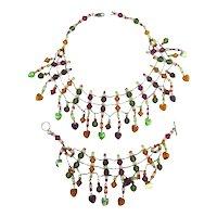 Colorful Crystal Bead Sterling Silver Necklace Bracelet Set