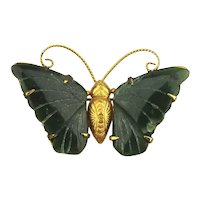 Gilded Butterfly Pin w/ Carved Jade Wings