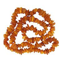 Genuine Amber Bead Necklace Egg Yolk to Butterscotch