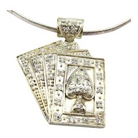 Big Sterling Silver CZ Playing Cards Pendant Necklace