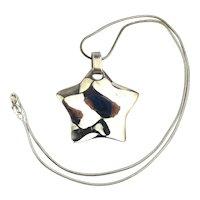 Modernist Sterling Silver Shining Star Pendant Necklace