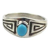 Navajo Julius Burbank Sterling Silver Turquoise Ring