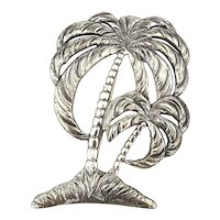 Big Double Palm Tree Sterling Silver Pin by Danecraft