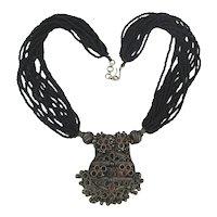 Vintage Tibetan Silverplate  Pendant w/ 15 Strand Necklace