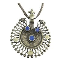 Ethnic Sterling Silver Lapis Pendant Necklace