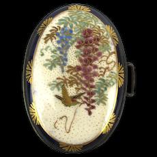 Antique Japanese Satsuma Porcelain Enamel Belt Buckle