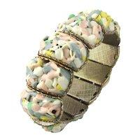 Fun Stretch Metal Bracelet w/ Pastel Plastic Inlaid Mosaic Art