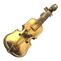 Tiny Miniature VIOLIN Pin Brooch Gold-Filled Signed and Realistic
