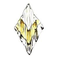 Big Rippling Modernist Sterling+ Silver Pin w/ Gold