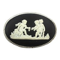 Wedgwood Black White Jasperware Silver Pin Cupid Kids w/ Jewels