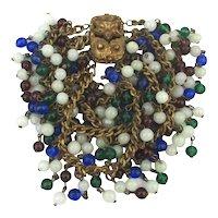 1930s Antiqued Brass Chains Bracelet w/  Glass Bead Dangles