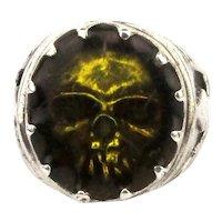 Big Sterling Silver Resin Golden Skull Ring