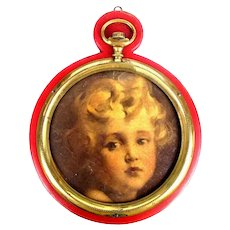 Gorgeous Baby Face Print in Pocket Watch Clock Frame