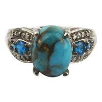 Vintage Mojave Kingman Turquoise Sterling Silver Ring