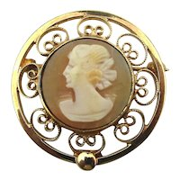 Catamore Gold-Filled Carved Shell CAMEO Lady Pin Brooch
