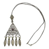Old Ethnic Sterling Silver Necklace Superb Hand Work
