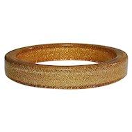 Vintage Lucite Applejuice Gilt Confetti Bangle Bracelet