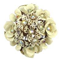 Domed Enamel Flower Pin w/ AB Rhinestones and Nice Back