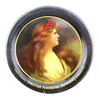 Antique Pre-Prohibition Tin Litho BEER Tip Tray Risque Lady