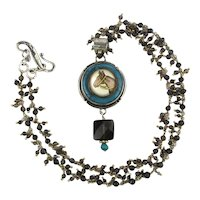 Sterling Necklace Hand-Painted Reverse Glass Horse Pendant on Frizzy Chain