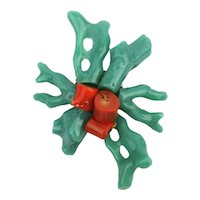 Big Faux Coral Branch Pin Brooch - A Palm Full of Color