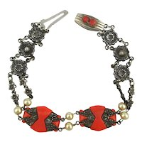 Art Deco Bracelet Coral Glass - Sterling - Flowers