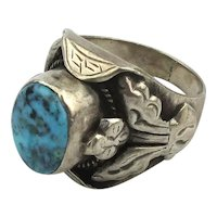 Native American Sterling Silver Ring Turquoise Nice One