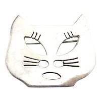Taxco Modernist 925 CAT Face Pin Brooch w/ Cut Outs