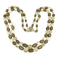 Vintage Moonstone Glass and Gilt Filigree Necklace Two Strands