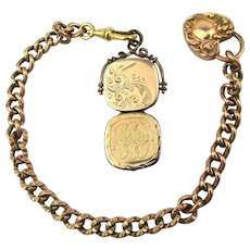 Victorian Gold-Filled Photo Locket Heart Charm Watch Chain W&H Co.
