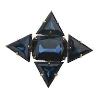 Art Deco Blue Glass Pin Brooch Right on Point