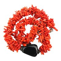 Gorgeous Red Stick Coral Necklace w/ Black Onyx Rock