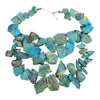 Big Bold Turquoise Crushed Stone Necklace Signed LUC