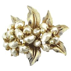 Boucher Baroque Pearl Floral Pin Brooch