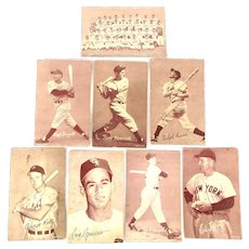 8 Original Old Baseball EXHIBIT Cards 1948 Boston Braves plus Rizzuto Kiner Lopat