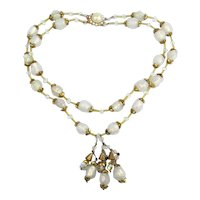 Vintage Poured Opalescent Glass Gilded 2 Strand Necklace