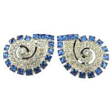 Pair Art Deco Blue / Clear Rhinestone Dress Fur Clips