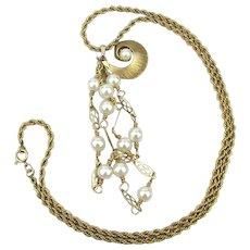 Vintage Gold-Filled Faux Pearl Pendant Necklace w/ a Little Surprise