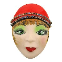 Signed Hand-Painted Face Head Pin MIRAY - Oh, Those Eyelashes