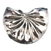 Big Puffy Sterling Silver Ruffled Pin Pendant Electroform 925 Lost Wax