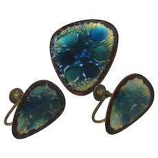 Modernist Hogan Bolas Enamel on Copper Pin Earrings Set
