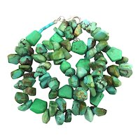Necklace of Chunks of Blue Green Turquoise Beads