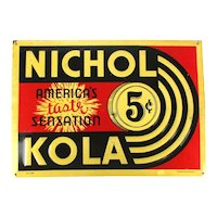 Original c1940 NICHOL KOLA Embossed Tin Litho Soda Sign w/ 5c Nickel