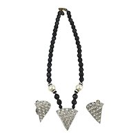 Vintage Miriam Haskell Necklace Earrings Set Black Jet Beads White Crystals