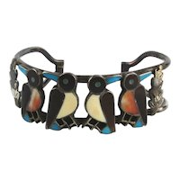 Zuni K & R HOMER Silver Inlay Birds Cuff Bracelet