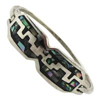 Taxco Sterling Silver Hinged Bracelet Abalone Inlay