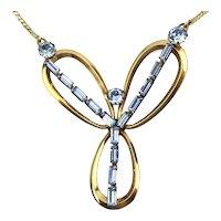 Art Deco VAN DELL Gold-Filled Necklace w/ Rhinestone Pendant