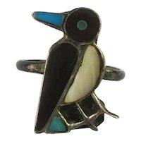 Zuni HOMER Silver Inlay Bird Ring