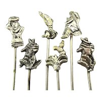 Set of 6 Mexican Sterling Silver Food Cocktail Picks